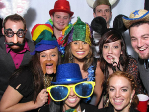 large group in the photo booth